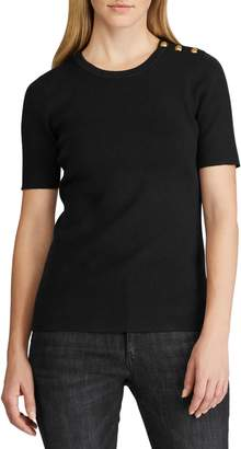 Lauren Ralph Lauren Ribbed Cotton Blend Short-Sleeve Sweater