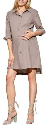 Maternal America High/Low Maternity Shirtdress