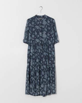 Raquel Allegra Navy Peasant Tiered Dress