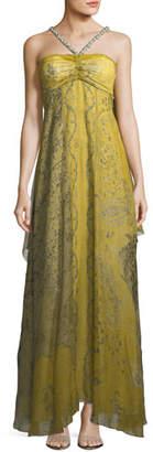 Etro Chartreuse Cape Shoulder Evening Gown