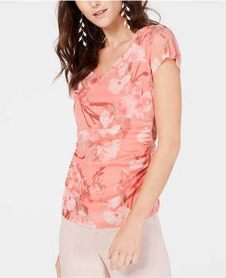 INC International Concepts I.N.C. V-Neck Printed Double-Layer Top, Created for Macy's
