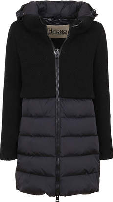 Herno Black Technical Fabric And Wool Padded Coat