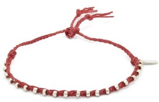 Paul Smith Silver Embellished Cotton Friendship Bracelet - Mens - Red