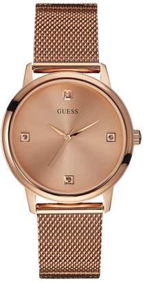 GUESS Rose Gold-Tone Slim Round Diamond Watch