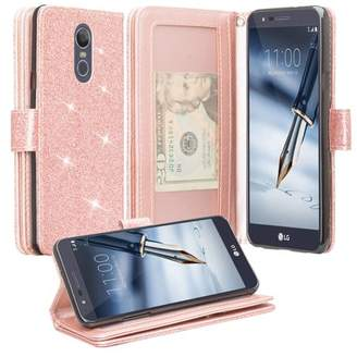 LG Electronics Coverlab For Stylo 4, Stylo 4 Plus Q710, Q Stylus Case, Glitter Bling Leather Flip Wrist Strap Wallet Cover Wristlet Clutch - Rose Gold