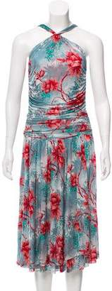 Etro Gathered Floral Print Dress