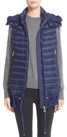 MonclerWomen's Moncler Amarante Water Resistant Ruffle Hem Down Puffer Vest