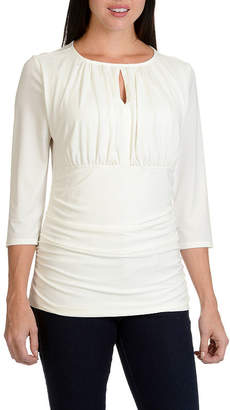 Larry Levine Slit Neck Ruched Knit Top
