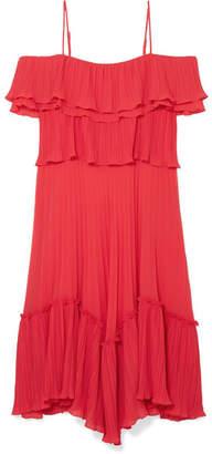 Halston Cold-shoulder Plissé-georgette Dress