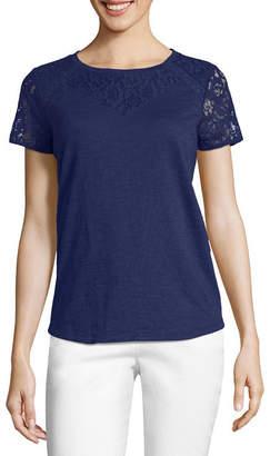 Liz Claiborne Short Sleeve Lace Yoke T-Shirt-Womens