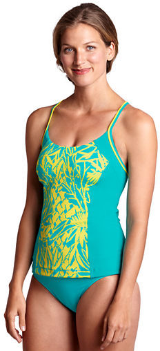 Lands' End Women's AquaTerra Abstract Floral X-back Tankini Top