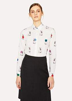 Paul Smith Women's White 'Rabbit' Print Shirt With Polka Dots