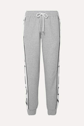 P.E Nation Easy Run Striped Mélange French Cotton-terry Track Pants - Gray
