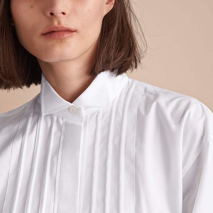Burberry Tie-waist Wing Collar Cotton Poplin Shirt Dress
