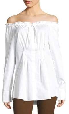 Tibi Ruched Off-The-Shoulder Shirt