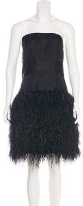 Milly Strapless Feather Dress