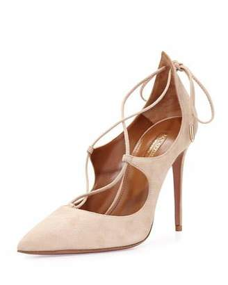 Aquazzura Christy Suede Lace-Up Pump, Nude $725 thestylecure.com