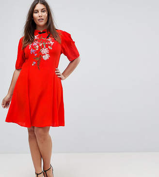 Asos Chinoiserie Embroidered Mini Dress