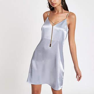 River Island Blue satin chain strap slip dress