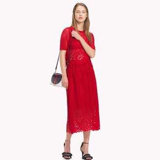 Tommy Hilfiger Laser Cut Lace Midi Skirt