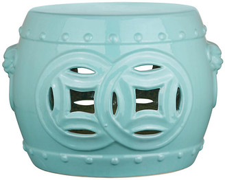 One Kings Lane Isamu Double Coin Garden Stool - Teal