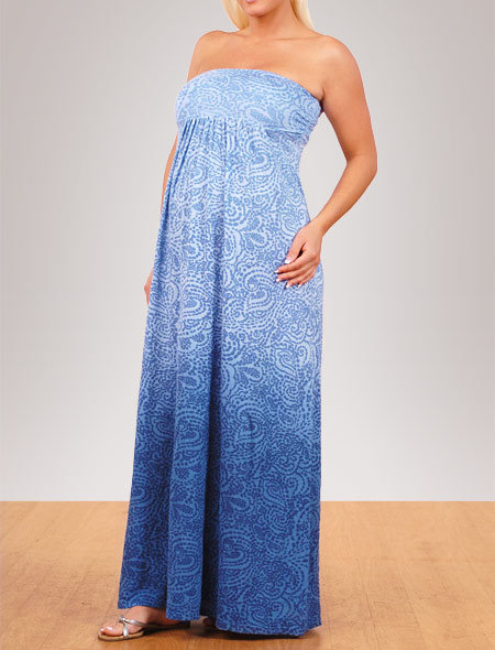Splendid Strapless Empire Seam Maternity Dress