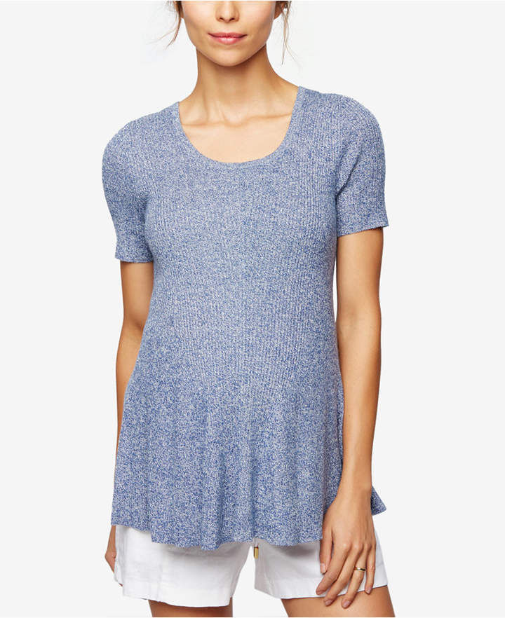 A Pea In The PodA Pea In The Pod Maternity Short-Sleeve Peplum Sweater