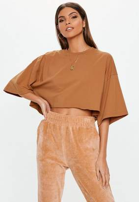 Missguided Rust Drop Shoulder Cropped T Shirt