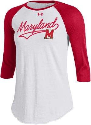 Under Armour Women's Maryland Terrapins Raglan Baseball Tee