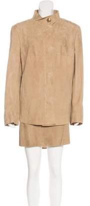 Akris Suede Skirt Set