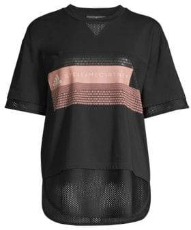 adidas by Stella McCartney Women's Mesh-Trim Logo Graphic Tee - Black - Size Small