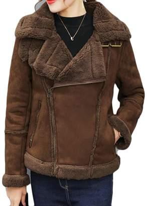 BU2H-Women BU2H Women's Sheepskin Suede Leather Shearling Oblique Zipper Coat Jacket US S