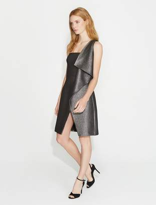 Halston Flounce Drape Metallic Jacquard Dress