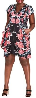City Chic Front Zip Sheath Dress