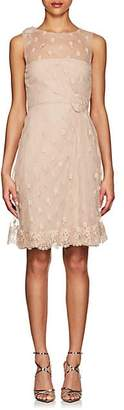 Valentino WOMEN'S FLORAL-EMBROIDERED TULLE DRESS - BEIGE/TAN SIZE 44