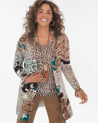 Mixed Leopard-Print Cardigan