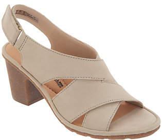 Clarks Nubuck Leather Adjustable Heeled Sandals- Sashlin Nolte