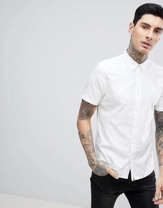 Pretty Green oxford short sleeve shirt in white