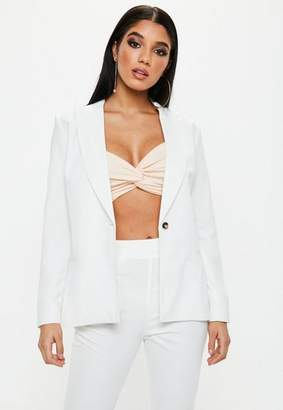 Missguided White Single Button Front Longline Blazer