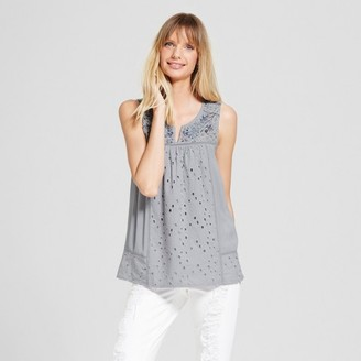 Knox Rose Women's Oversized Eyelet Knit to Woven Embroidered Tank $22.99 thestylecure.com
