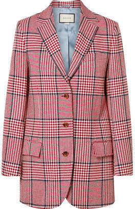 Gucci Prince Of Wales Checked Wool-blend Blazer - Red