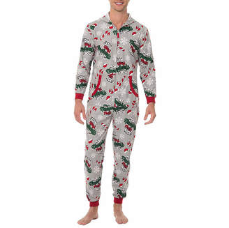 ONESIES Fleece Onesies One Piece Pajama More Naughty Than Nice Print-Mens