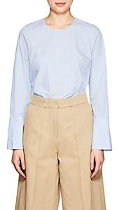 Barneys New York Women's Frayed-Hem Striped Cotton Poplin Shirt - Blue