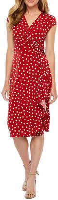 Robbie Bee Short Sleeve Polka Dot Fit & Flare Dress