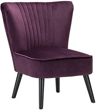 Warehouse Eastern Armchairs Velvet Slipper Occasional Chair, Black Legs, Mulberry Purple