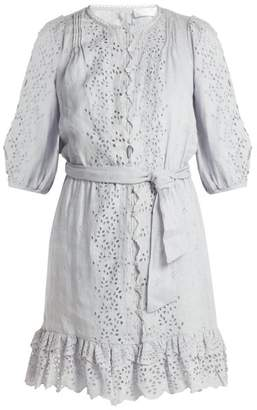 Zimmermann Iris Scallop Lace Linen Dress - Womens - Light Blue