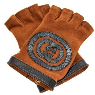 Gucci - Suede And Leather Fingerless Gloves - Womens - Brown