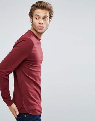 Asos Longline Muscle Sweatshirt With Curved Hem & Insert