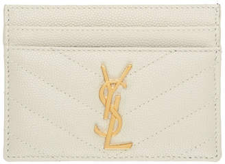 Saint Laurent White Monogramme Card Holder