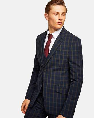 Topman Check Muscle Fit Suit Jacket